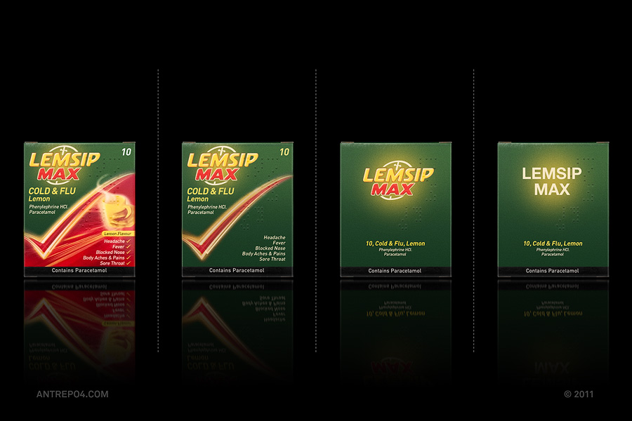 Minimalist product packaging of famous brands lemsip max