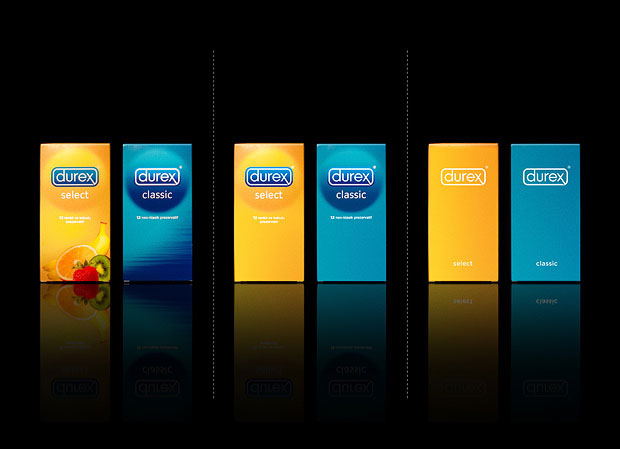 Minimalist product packaging of famous brands - Durex