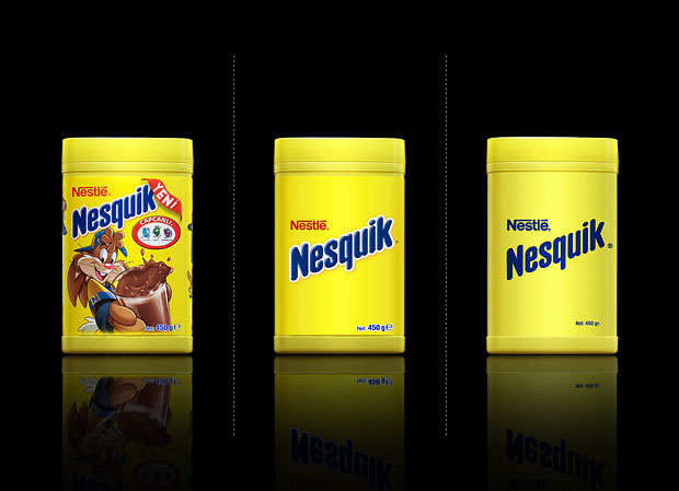 Minimalist product packaging of famous brands - Nestle Nesquik