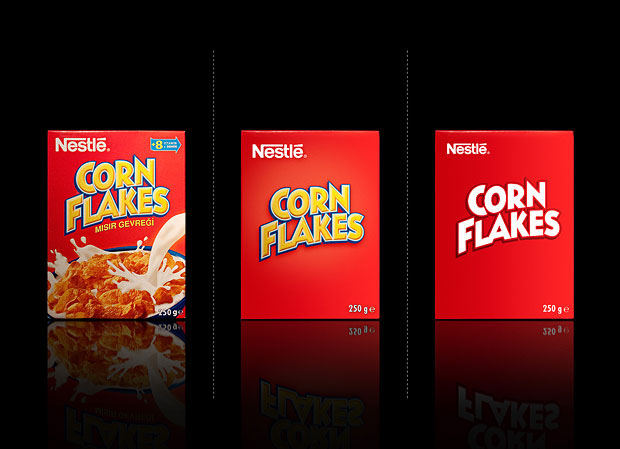Minimalist product packaging of famous brands - Nestle Corn Flakes