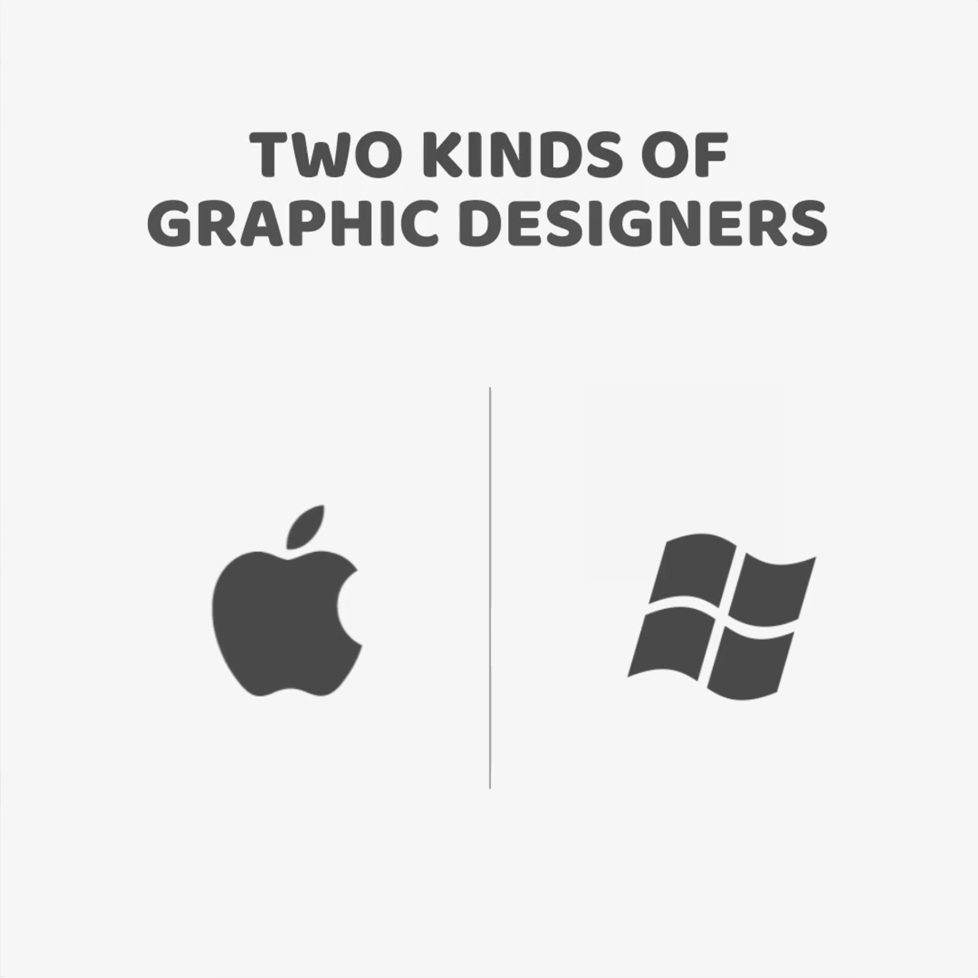 Two kinds of Graphic Designers - Mac vs. Windows