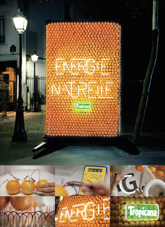 Tropicana - Billboard powered by oranges