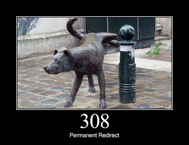 308 Permanent Redirect: The request, and all future requests should be repeated using another URI. 307 and 308 (as proposed) parallel the behaviours of 302 and 301, but do not allow the HTTP method to change. So, for example, submitting a form to a permanently redirected resource may continue smoothly.