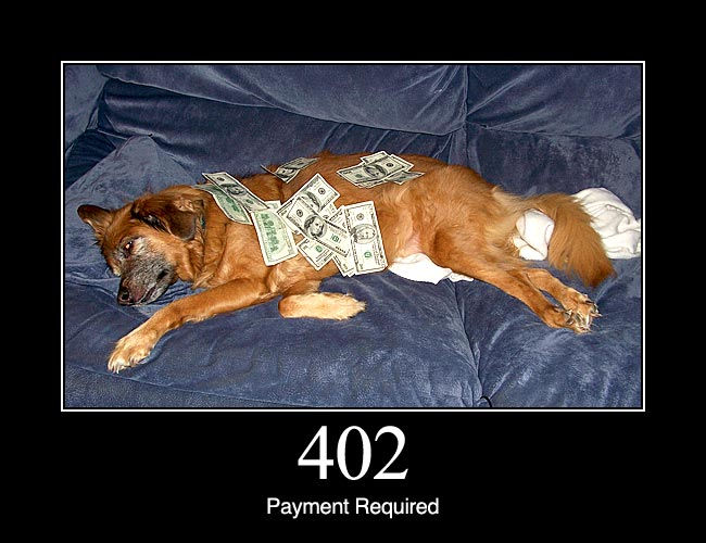 "402 Payment Required: Reserved for future use. The original intention was that this code might be used as part of some form of digital cash or micropayment scheme, but that has not happened, and this code is not usually used. As an example of its use, however, Apple's MobileMe service generates a 402 error (""httpStatusCode:402"" in the Mac OS X Console log) if the MobileMe account is delinquent."