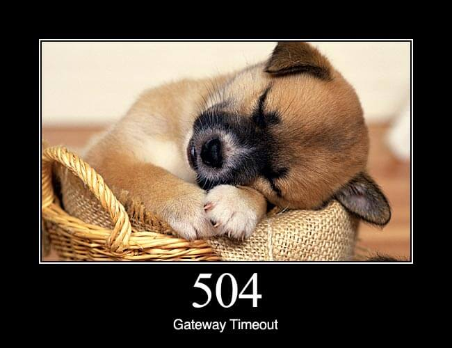 504 Gateway Timeout: The server was acting as a gateway or proxy and did not receive a timely response from the upstream server.