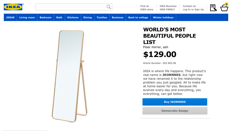 IKEA Retail Therapy - World's most beautiful people list