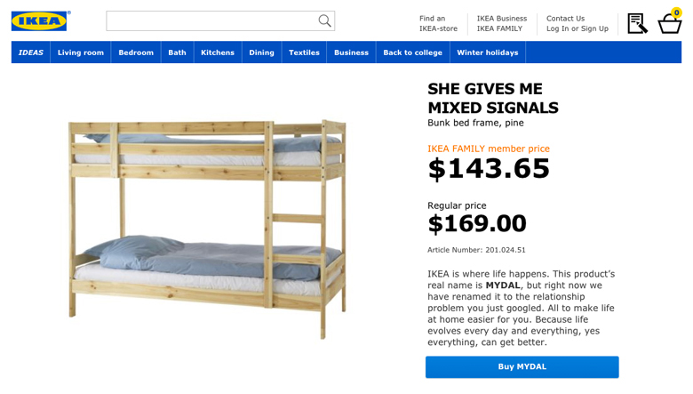 IKEA Retail Therapy - She gives me mixed signals