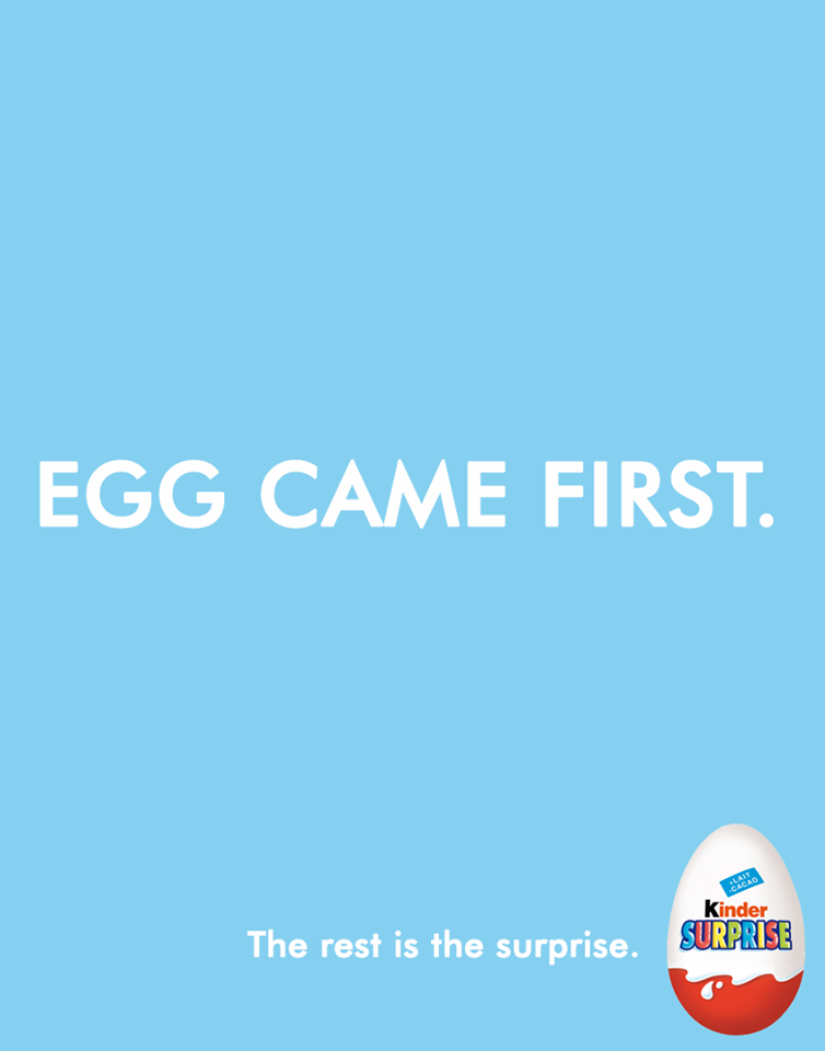 Creative Print Ads, 365 Day Copywriting Challenge - Kinder Surprise Egg