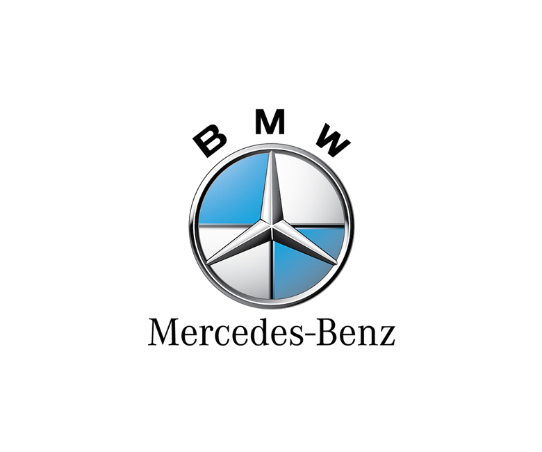 Combined logos of famous brands: BMW / Mercedes-Benz