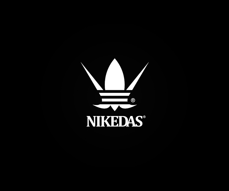 Combined logos of famous brands: Nike / Adidas