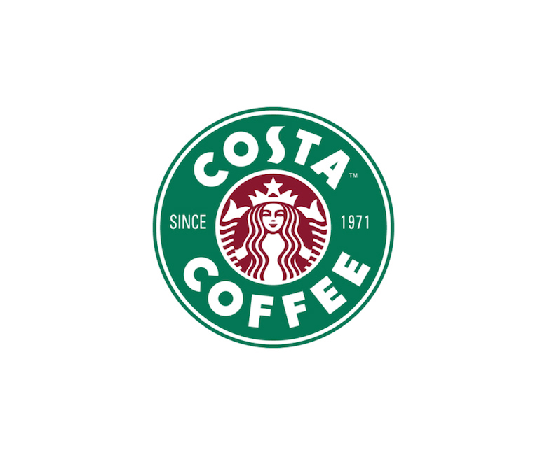 Combined logos of famous brands: Starbucks / Costa Coffee