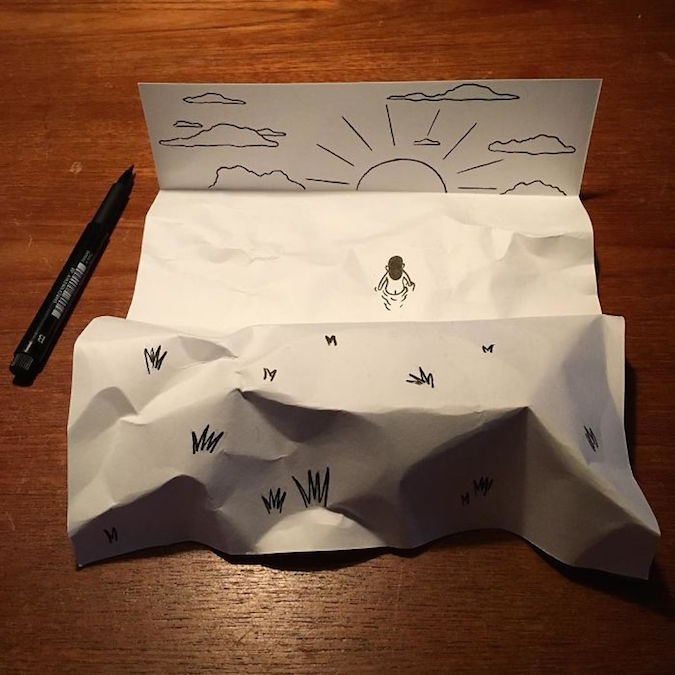 3D paper folding art and drawings by HuskMitNavn - 10