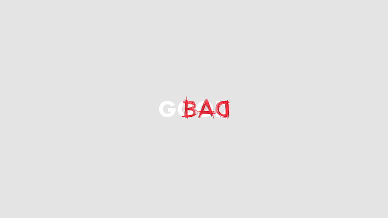 Logos of common english adjectives - Bad