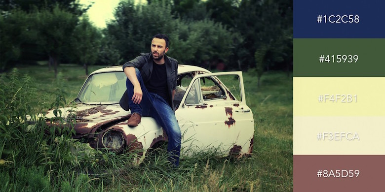 Beautiful color combinations, schemes and palettes - Old Car and Blue Jeans