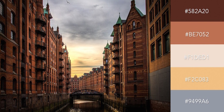 Beautiful color combinations, schemes and palettes - Sunset in Hamburg