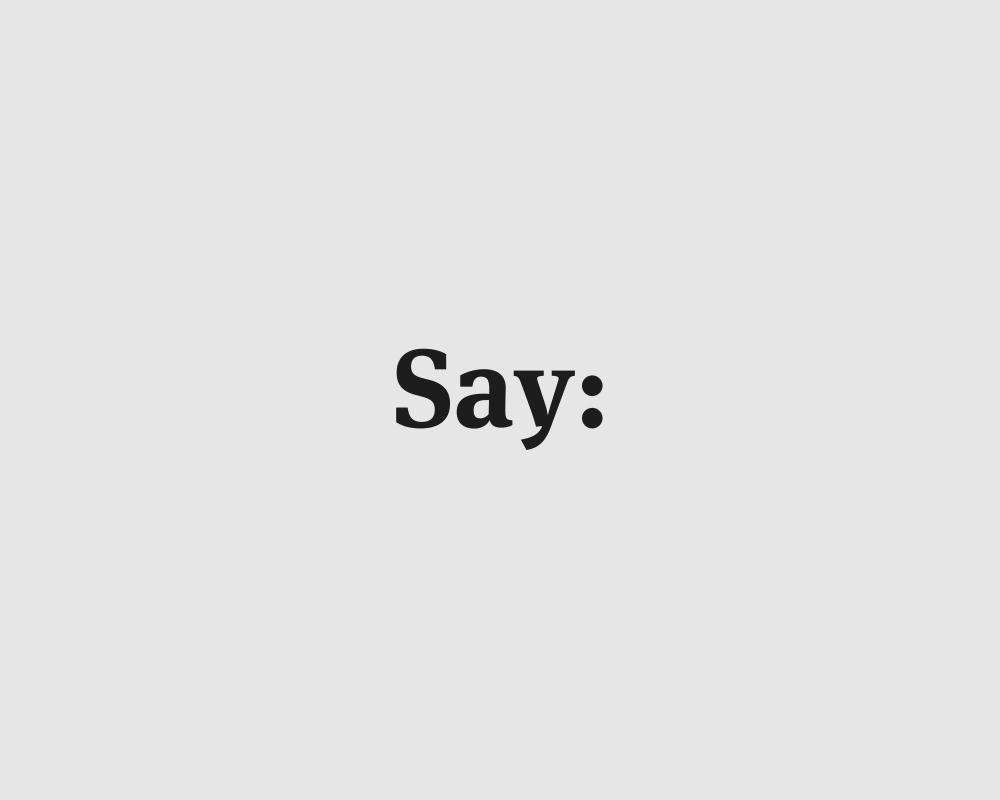 Logos of common english verbs - Say