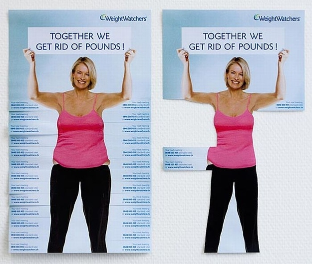 Creative tear off ads - WeightWatchers
