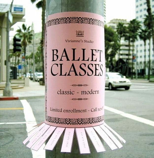 Creative tear off ads - Vivianne's Studio: Ballet Classes