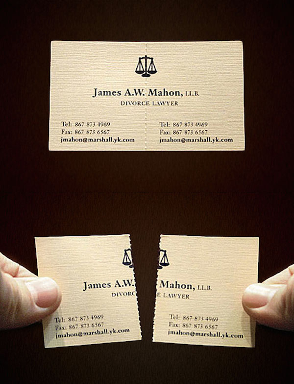 Clever Tear-Off Ads - James A.W. Mahon: Divorce Lawyer