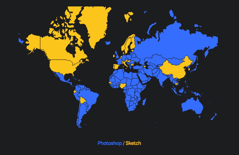 Sketch vs Photoshop: Country Usage Map