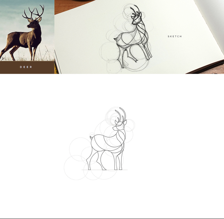 Color animal logos based on circular geometry - Deer (1)