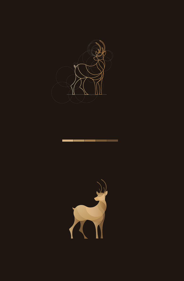 Color animal logos based on circular geometry - Deer (2)