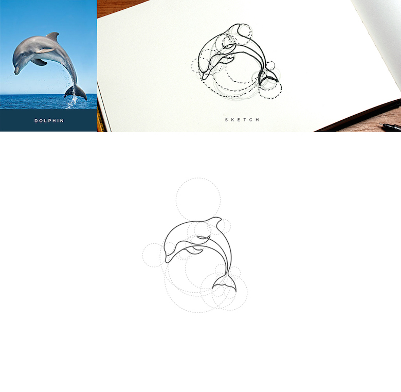 Color animal logos based on circular geometry - Dolphin (1)