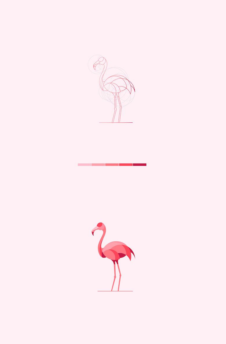 Color animal logos based on circular geometry - Flamingo (2)