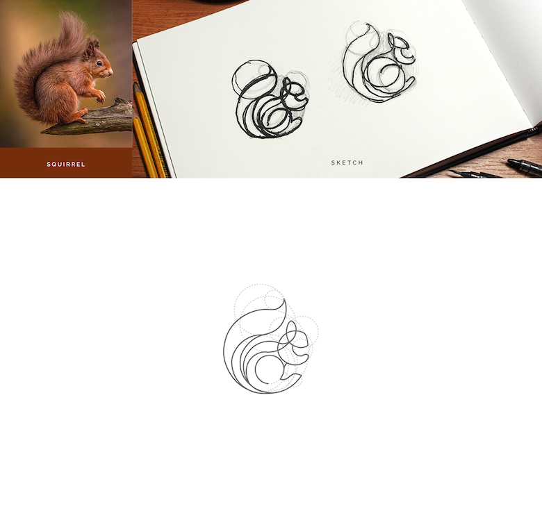 Color animal logos based on circular geometry - Squirrel (1)