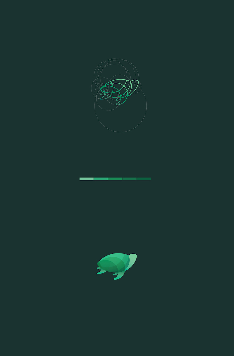 Color animal logos based on circular geometry - Turtle (2)