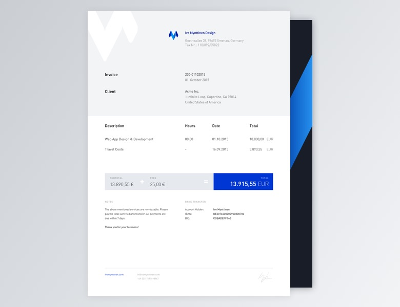 Creative Invoice Bill Designs To Impress Clients   14  Invoice Designer