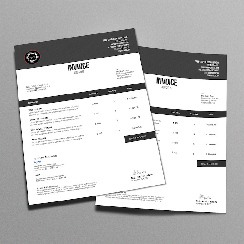 Creative invoice bill designs to impress clients - 27