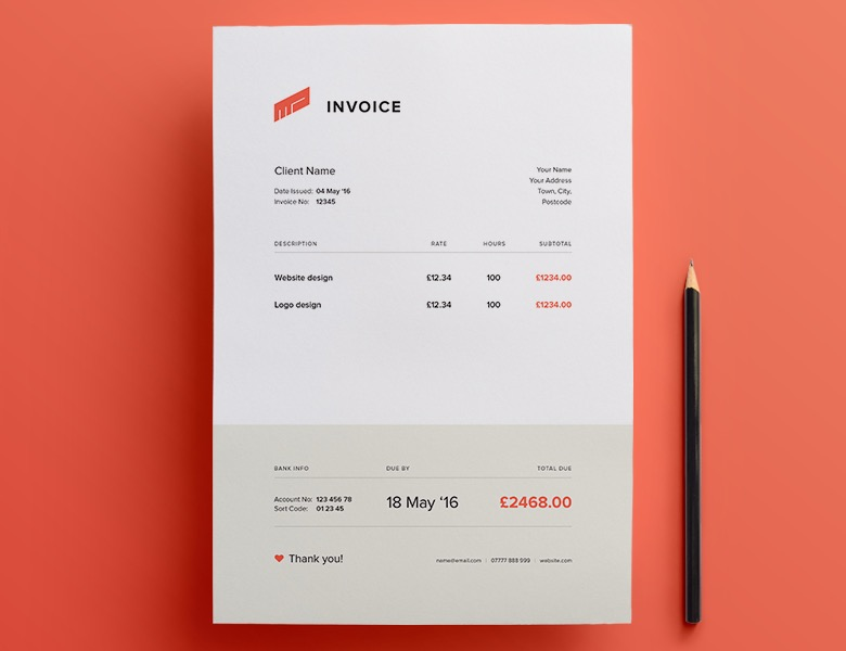 Creative invoice bill designs to impress clients - 30