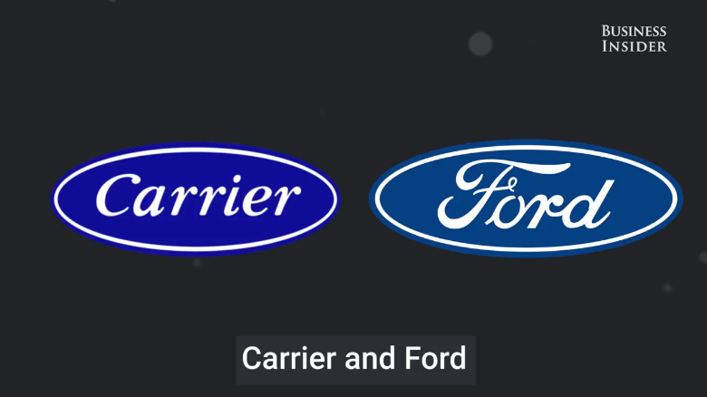 Famous logos that look similar: Carrier & Ford