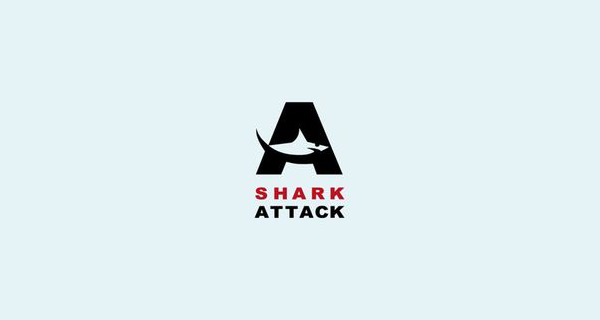 creative single letter logo designs shark attack