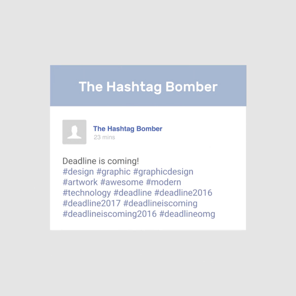 Different types of graphic designers on social media - The Hashtag Bomber