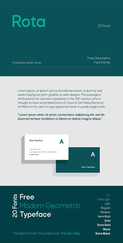 Beautiful free fonts for designers - Rota