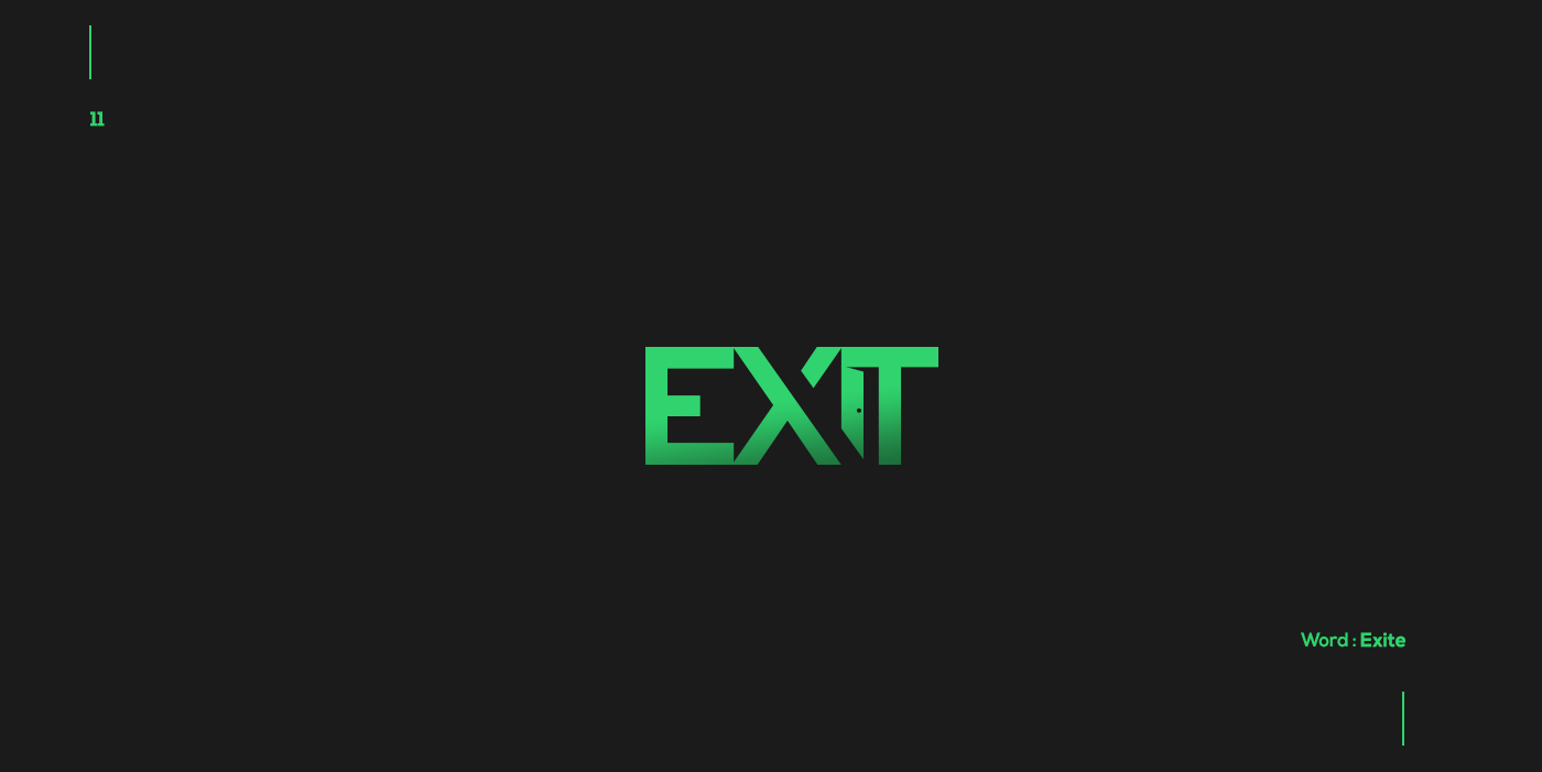 Creative typographic logos that visualize the meanings of words - Exit