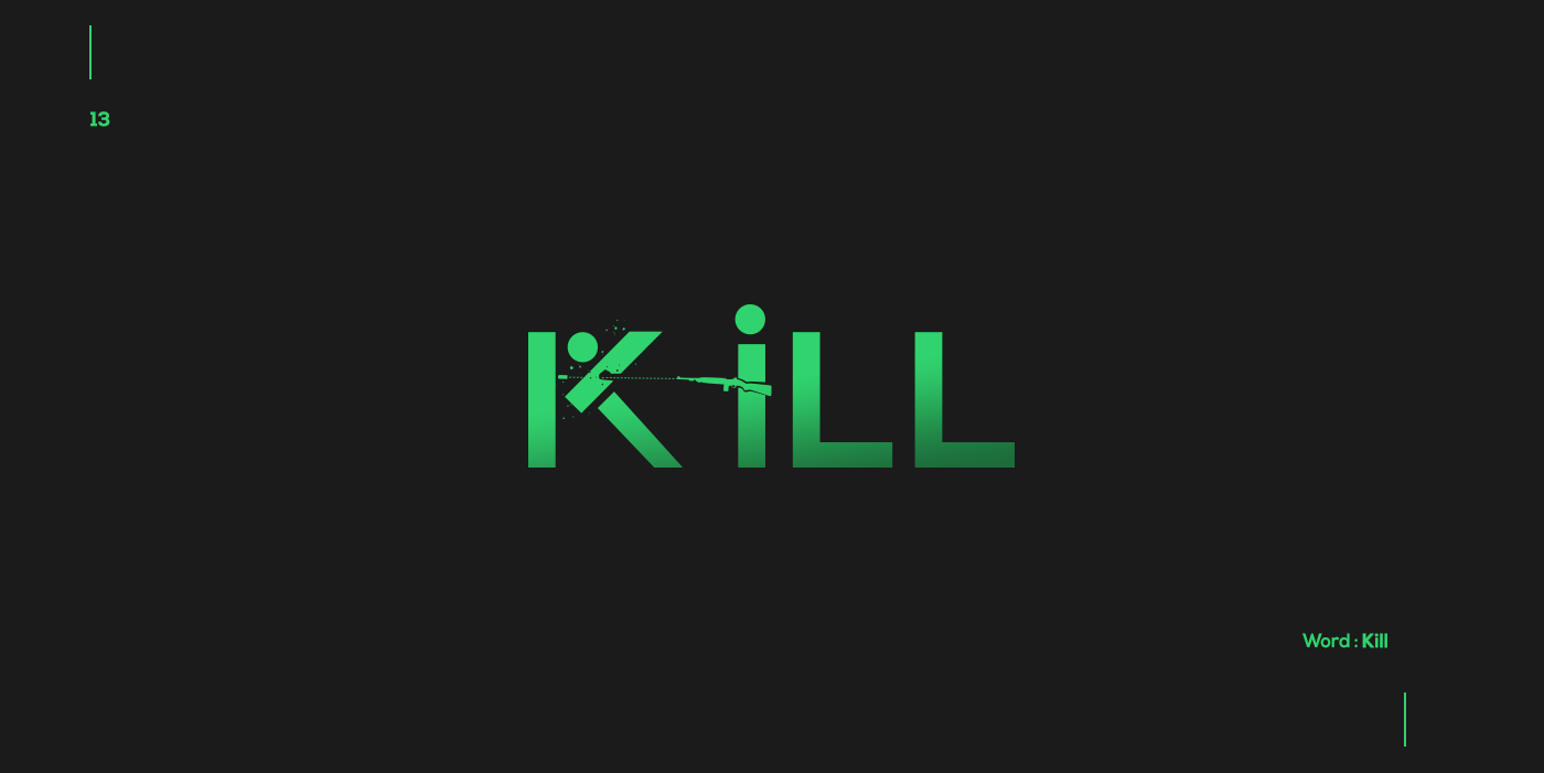 Creative typographic logos that visualize the meanings of words - Kill