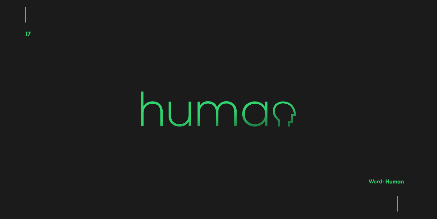 Creative typographic logos that visualize the meanings of words - Human