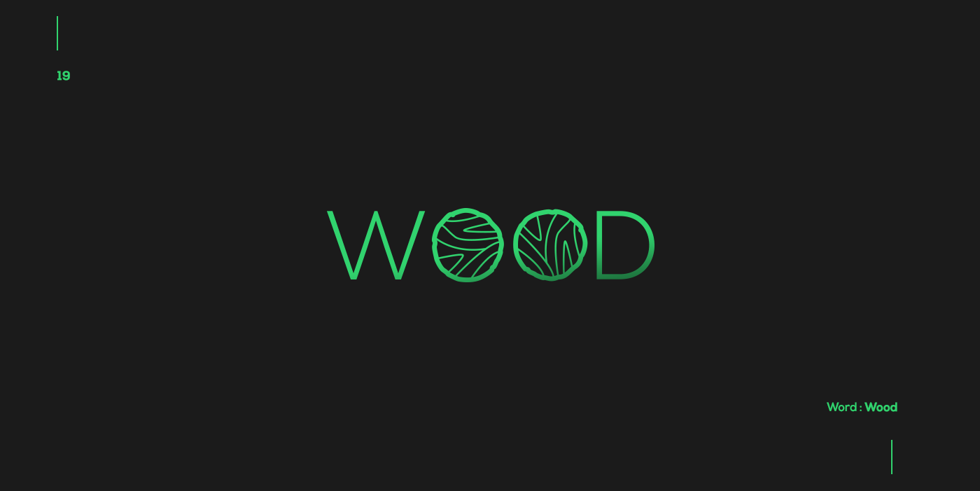 Creative typographic logos that visualize the meanings of words - Wood