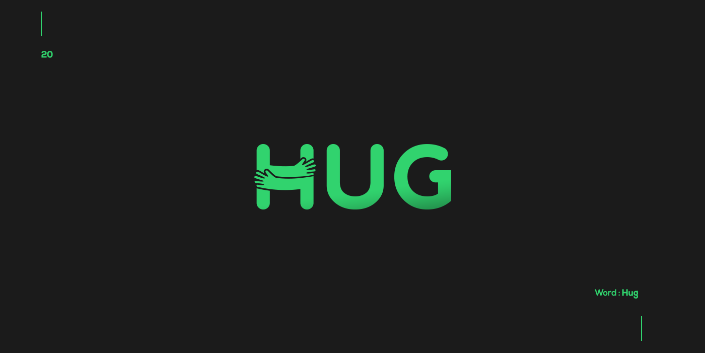 Creative typographic logos that visualize the meanings of words - Hug
