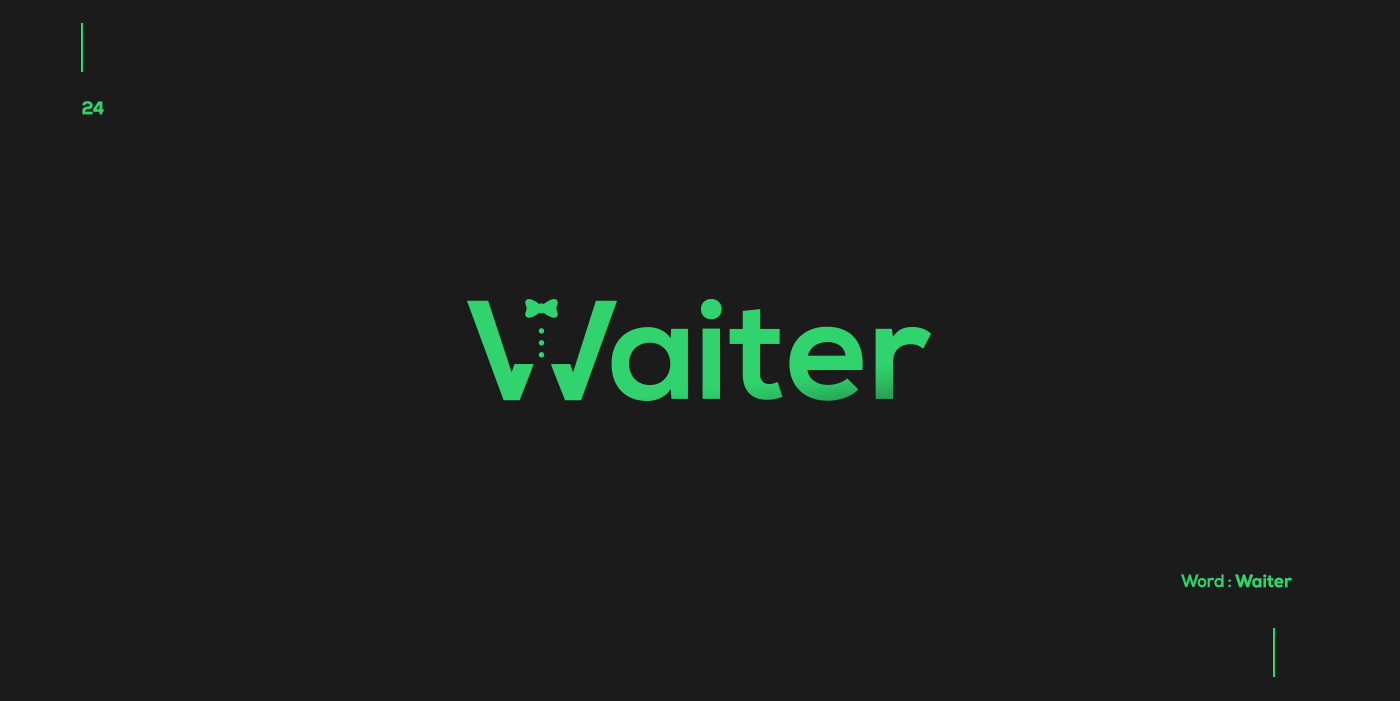 Creative typographic logos that visualize the meanings of words - Waiter