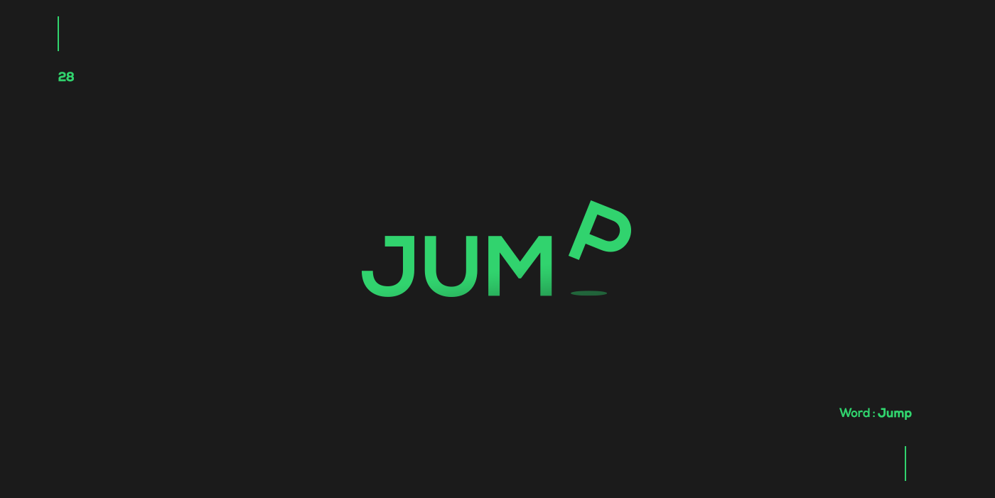Creative typographic logos that visualize the meanings of words - Jump