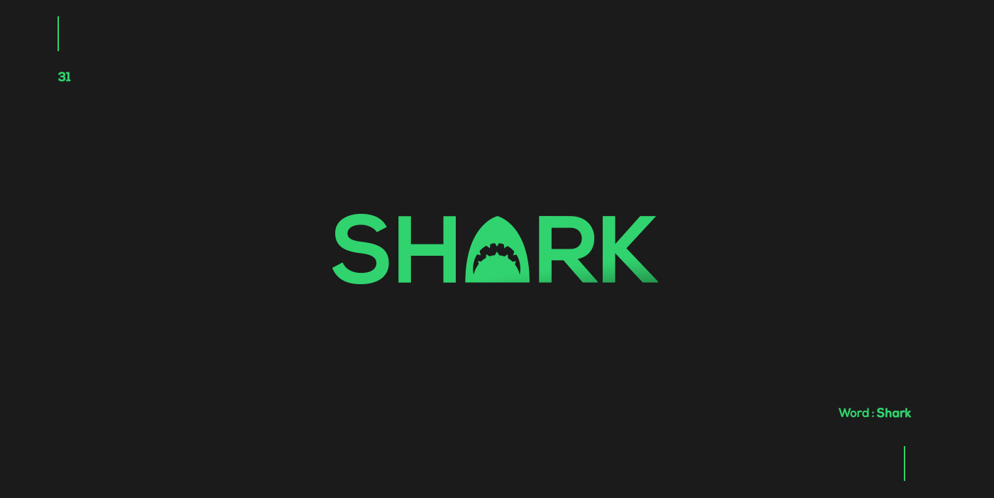 Creative typographic logos that visualize the meanings of words - Shark