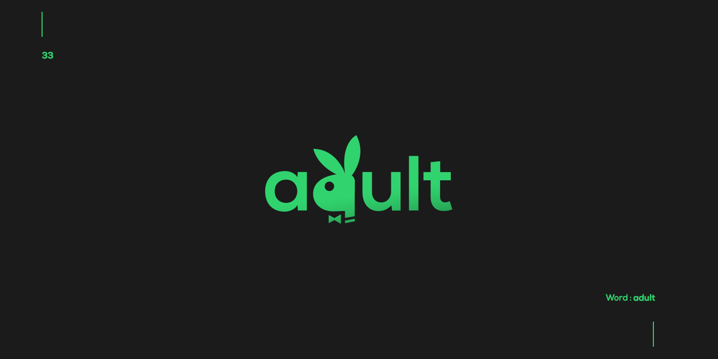 Creative typographic logos that visualize the meanings of words - Adult