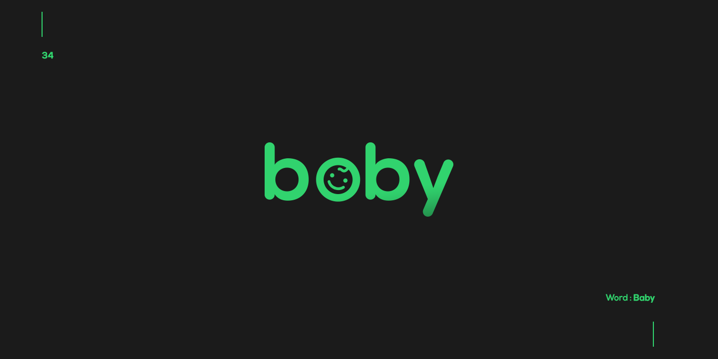 Creative typographic logos that visualize the meanings of words - Baby