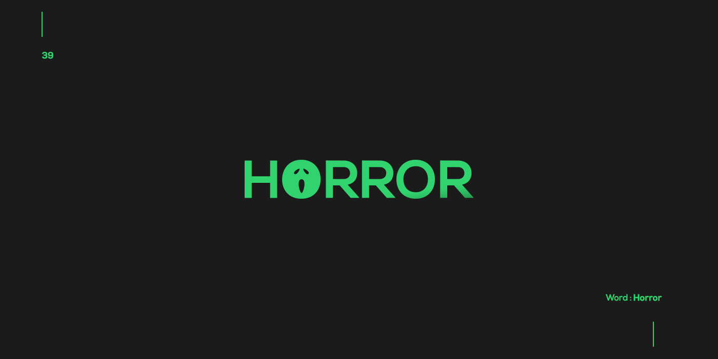 Creative typographic logos that visualize the meanings of words - Horror