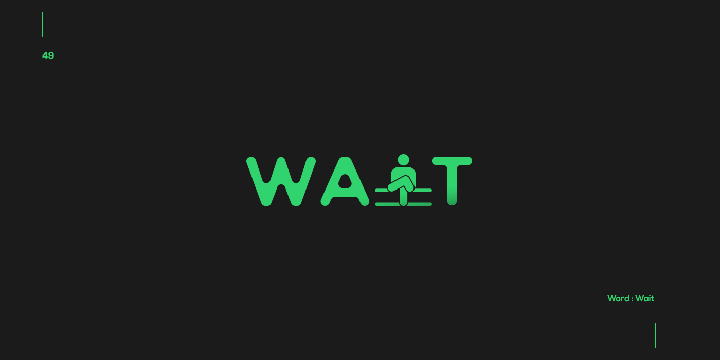 Creative typographic logos that visualize the meanings of words - Wait