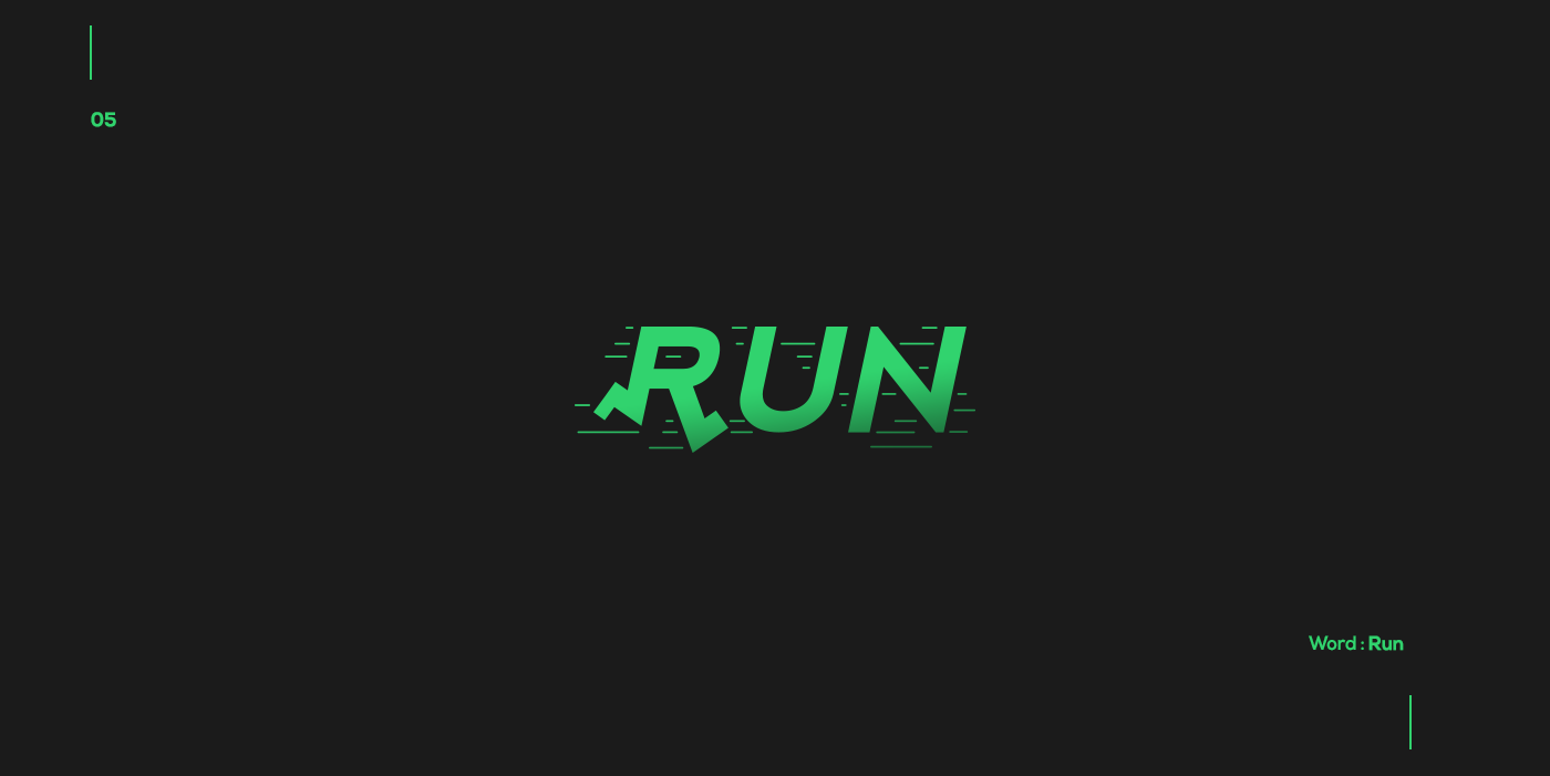Creative typographic logos that visualize the meanings of words - Run